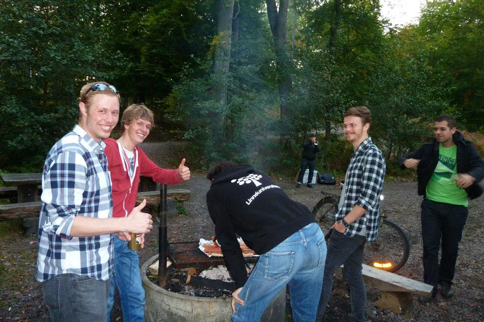 Andrew at a cookout in Sweden2